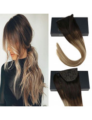 Sunny Clip in Hair Extensions Ponytail 20 inch Wrap Around Human Hair Ponytail Balayage Brown to Light Blonde Highlighted Clip in Hair Ponytail for Women 80g/pack