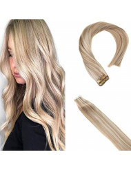 Sunny Blonde Tape in Human Hair 20 inch Double Sided Tape in Hair Extensions Real Human Hair Seamless Skin Weft Ash Blonde Highlighted Blonde 20 pc/50g
