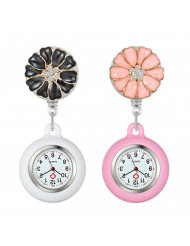 Women's Nurse Clip on Watch Cute Flower Lapel Hanging Doctor Clinic Staff Tunic Stethoscope Badge Quartz Fob Pocket Watch with Silicone Cover - 2 Pack
