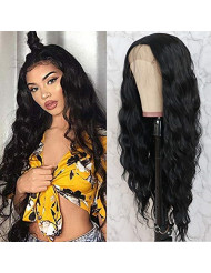 QD-Tizer Black Long Loose Curly Wave Lace Front Wigs with Baby Hair Deep Part Heat Resistant Glueless Synthetic Lace Front Wigs for Fashion Women 28 inch Black Curly Wigs