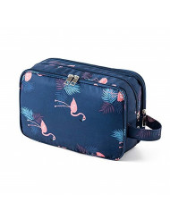 Travel Toiletry Bag Cases Large Cosmetic Bag Portable Makeup Organizer Pouch with Waterproof Isolation Compartment for both Men and Women (Flamingo)
