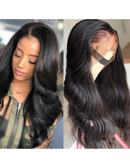 Body Wave Lace Front Human Hair Wigs For Women 150% Density Pre Plucked Hairline With Baby Hair 8-26Inch Peruvian Remy Hair Bleached (18 inch, body wave natural)