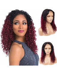 Feelgrace Ombre Two Tone Kinky Curly Human Hair Lace Closure Wigs for Black Women Ombre Black to Burgundy Brazilian Curly Human Hair Wigs Full and Thick Remy Hair Wigs (14 Inch, 1B/Burgundy)