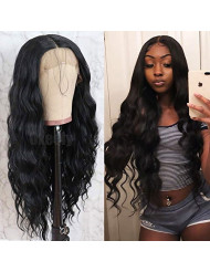 Oxeely Black Long Loose Curly Wavy Glueless Lace Front Wigs for Women Heat Resistant Synthetic Lace Front Wigs with Baby Hair Natural Hairline 26 inch