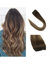 Sunny Clip in Hair Extensions 16 inch Remy Balayage Clip in Hair Extensions Human Hair Dark Brown Mix Strawberry Blonde Clip in Balayage Hair Extensions One Piece 70g