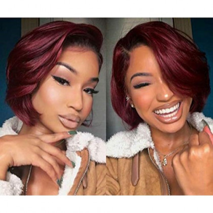 "Hexuan Hair 1B Burgundy 1b 99j Ombre Hair Wig Bob Wigs Lace Front Human Hair Wigs with Baby Hair Straight Short Brazilian Remy Hair wigs(10"",1B/Burgundy)"