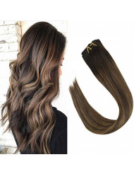 VeSunny Clip in Extensions Real Human Hair 18inch Full Head Color Dark Brown Fading to Medium Brown Highlighted Clip on Hair Extensions Remy Human Hair Thick Ends 7pcs 120g/Set