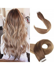 Fshine Tape In Hair #10 Blonde Highlight With #14 Dark Golden Blonde Balayage 20 Inch Non Clip BLonde Color Hair Extensions Ombre Pastel PU Seamless Remy Human Hair Extensions 50 Grams 20 Pieces