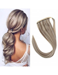 Sunny Clip in Ponytail Blonde Highlights 16 inch Human Hair Wrap Around Ponytail Extensions Brazilian Human Hair Color #20 Mixed #60 80 Grams