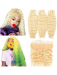 """613 Bundles with Frontal Peruvian Hair Honey Blonde Deep Wave Human Hair Bundles with Lace Frontal with Baby Hair Transparent Lace Color Remy Hair Can Be Dyed (202224+18"""", bundles with frontal)"""