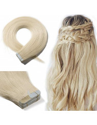 Tape In Real Human hair Extension Glue In Skin Weft Hair Extensions Rooted Tape in Remy Hair Seamless Invisible Double Sided Tape Human Hair Extensions For Women 18 inch 30g 20pcs #60 Platinum Blonde