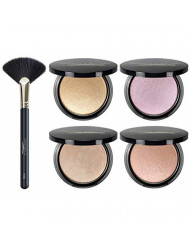 Aesthetica Starlite Highlighter - Metallic Shimmer Highlighting Makeup Powder (All 4 Shades + Brush)