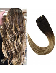 """VeSunny 24"""" Balayage Clip in Hair Extensions Color Darkest Brown #2 Fading to Medium Brown #6 Highlights #24 Light Blonde Clip in Hair Extensions Human Hair Balayage 7pcs 120G"""