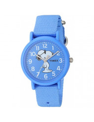 Timex Unisex TW2T65800 Weekender Peanuts Joe Cool Blue Fabric Slip-Thru Strap Watch