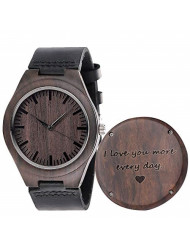 Fodiyaer Engraved Wood Watch for Men Boyfriend Husband Him As Personalized Anniversary Christmas Birthday Father Day Wooden Gifts Idea, Brown, I Love You More Every Day