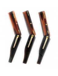 GBS 3 pk FCT - Folding Anti-Static No Snag All Purpose Men or Women Hair and Beard Tortoise Comb- Handmade Sawcut - 100mm Fine Teeth with Pocket Clip Best Travel Comb Professional Choice