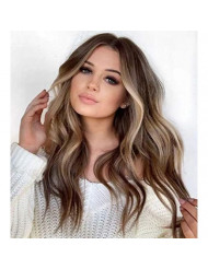 Sunny Clip Hair Extensions Brown Human Hair 14 inch Balayage Color Medium Brown Ombre to Platinum Blonde Highlight Brown Real Hair Clip in Extensions Silky Straight 7pcs 120g
