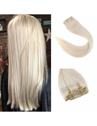 Sunny Clip in Hair Extensions Human Hair Blonde 24 inch Natural Straight Platinum Blonde Real Hair Extensions Clip in Double Weft Long Soft 7pcs 120g