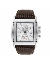 Yves Camani Men's Stainless Steel Chronograph Watch with Date Display (Leather - Silver (Stones))
