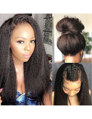 Glueless 360 Lace Frontal Wigs Kinky Straight Human Hair Wig with Baby Hair Pre Plucked Italian Yaki 360 Lace Front Wigs For Women 150 Density Peruvian Remy Hair Natural Hairline (16inch, KS)