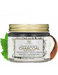 Teeth Whitening Charcoal Powder - Premium Organic Coconut & Bamboo Tooth Whitener Powder with Kaolin Clay, Bentonite Clay, Peppermint & More for Brighter Smile & Healthier Gums 2.0oz/56.6