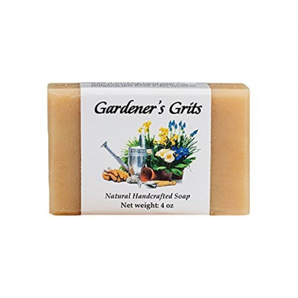 Hand Soap for Gardeners with Patchouli and Geranium Essential Oils, Shea and Cocoa Butter, Palm, Coconut and Olive Oil, Corn Grits, Rosemary Extract (One Bar) by MoonDance Soaps and More