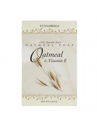 Sunaroma Oatmeal Soap with Vitamin E (4.25 oz) - 100% Vegetable Based Soap - Great for Sensitive or Eczema Prone Skin - Made in the USA, Sulfate Free
