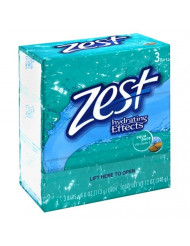 Zest 3 Bar Aqua Pure Soap, 4 oz