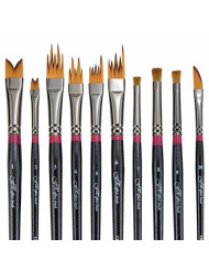 Creative Mark FX Special Effects Paint Brush Set Unique Ribbon, Multi-Line, Angular Dabber Style Professional Artist Paint Brush Set for Watercolor, Thinned Acrylics & Oil Paint [Set of 10]