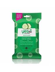 Yes To Cucumbers Face Wipes for Sensitive Skin Soothing Travel Facial Wipes   10 Count