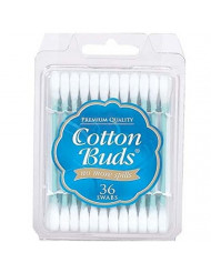 Cotton Buds Premium Cotton Swabs, Travel Size, 36 Count (Pack of 24)