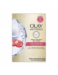 Olay Daily Facials, Daily Clean Makeup Removing Facial Cleansing Wipes, 5-in-1 Water Activated Cloths, Exfoliates, Tones and Hydrates Skin, Twin Refill, 66 count
