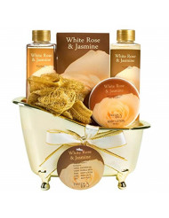 Luxurious White Rose Jasmine Spa Gift Set For Women Displayed In Elegant Gold Tub Includes: Shower Gel, Bubble Bath, Body Lotion, Jasmine Bath Salt and Pouf, Award Winning Bath and Body Gift Set