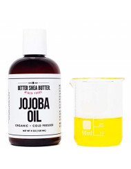 Organic Jojoba Oil, 100% Pure (4 oz), Natural, Cold Pressed, Unrefined, Hexane-Free - Carrier Oil - USDA Certified Organic - Moisturizer for Skin, Hair and Nails - by Better Shea Butter