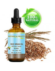 RICE BRAN OIL. 100% Pure / Natural / Refined / Undiluted Cold Pressed Carrier Oil for Face, Body, Hair, Massage and Nail Care. 1 Fl. oz-30 ml.