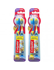 Colgate Kids Toothbrush with Extra Soft Bristles and Suction Cup Holder, Minions - 4 Count, Yellow