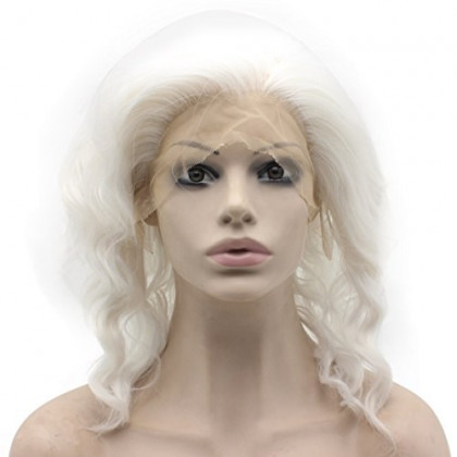 Mxangel Shoulder Length Synthetic Lace Front Snow White Stylish Wavy Wig Halloween Party