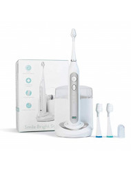Smile Bright Store Platinum Electronic Sonic Toothbrush with UV Sanitizing Charging Case - Rechargeable Storage Base, Silver