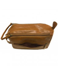 GBS Doppler Bag - Great Travel Toiletry Bag - 'Brown Cognac' - Side-Handle, Multi-Purpose Organizer for all your toiletries!