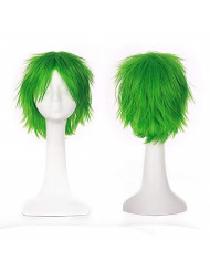 Short Fluffy Cosplay Wig For Women and Men Unisex Costume Wig green + One elastic wig net for free