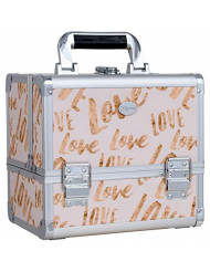 Joligrace Makeup Train Case Cosmetic Organizer Box Lockable with 3 Trays and a Brush Holder White Love Pattern with Mirror