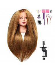 """SILKY 26""""-28"""" Long Hair Mannequin Head with 60% Real Hair, Hairdresser Practice Training Head Cosmetology Manikin Doll Head with 9 Tools and Clamp - #27 Golden, Makeup On"""