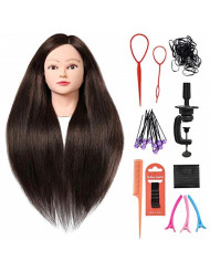 """SILKY 26""""-28"""" Long Hair Mannequin Head with 60% Real Hair, Hairdresser Practice Training Head Cosmetology Manikin Doll Head with 9 Tools and Clamp - #4 Brown, Makeup On"""
