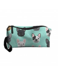 Portable French Bulldog Sweet Dog Puppy Puppies Dog Pencil Pen Case Cosmetic Makeup Bag For Women And Girls Students