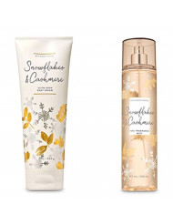 Bath & Body Works SNOWFLAKES & CASHMERE GIFT SET Body Cream & Fine Fragrance Mist Full size