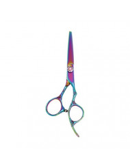 """ShearsDirect 5.5"""" Cutting Shear In Rainbow Titanium And Flower Engraving Handle, 3 Ounce"""
