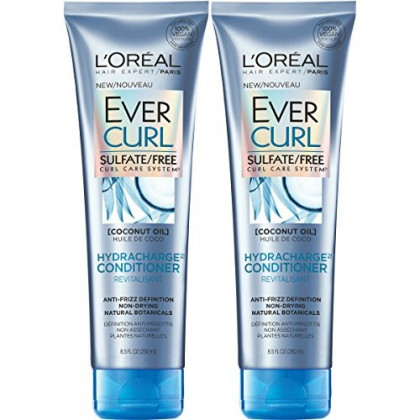 L'Oreal Paris Hair Care EverCurl Hydracharge Conditioner Sulfate Free, with Coconut Oil, 2 Count (8.5 Fl. Oz each)