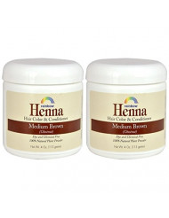 Rainbow Research Henna Medium Brown Hair Color and Conditioner (Pack of 2) With Indigofera, 4 oz. each.