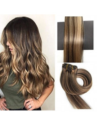 TheFashionWay Real Human Hair Clip on Hair Extensions 7pcs 70g Set Silky Straight Top Grade 7A Clip in Hair for Fashion women (15inches, #4-27)