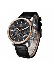 BENYAR Fashion Watches Men Analog Quartz Chronograph Date Waterproof Watches Business Design Leather Strap Sport Wrist Watch for Men Gift for Men Father